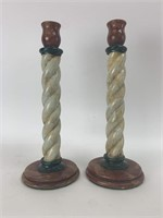 Vintage Wooden Candle Stick Holders