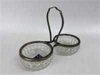 Vintage Raimond Silverplate & Glass Candy Nut Dish