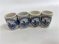 Vintage Hand Painted Delfts Holland Shot Glasses