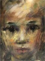 Signed Original Abstract Pastel Portrait Art