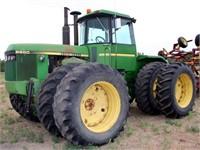 1983 John Deere 8650, cab, diesel eng, 3-pt, pto, 3-pr rem, 520/85R38 tires, 4x4, 4816 hrs, w/Degelman 12 Dozer Blade, SN: RW86500H004509