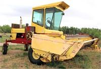 1980 New Holland 1114 Speedrower, cab, hydrostatic, 4-cyl diesel eng, , 16' cutter bar w/crimper, SN: 327475