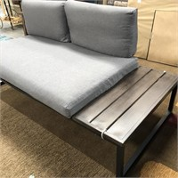 C - NEW GREY PATIO BENCH W/ SIDE TABLE