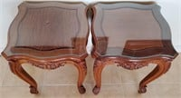 76 - BEAUTIFUL PAIR OF CARVED WOOD TABLES W/GLASS