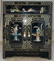 76 - STUNNING ASAIN CABINET W/DRAWER & GLASS TOP