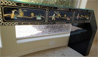 76 - STUNNING ASIAN 3 DRAWER DESK W/ GLASS TOP