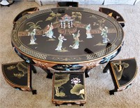 76 - STUNNING ASIAN TABLE W/ 6 CHAIRS & GLASS TOP