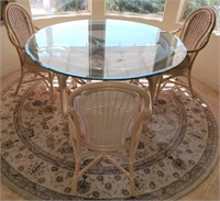 76 - BEAUTIFUL ROUND GLASS TABLE W/ 3 CHAIRS