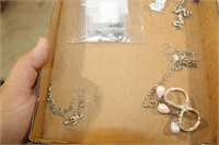 TRAY OF NECKLACES ETC