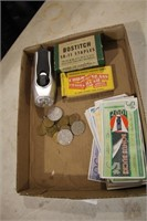 TRAY - VARIOUS COINS,PIONEER GAS MONEY,STAPLES,LIT