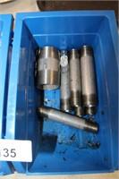 2 BLUE BINS OF PIPE FITTINGS ETC