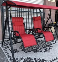 NEW RED COVERED PATIO SWING/RECLING CHAIRS W/CUP