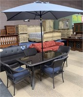 337 - NEW PATIO TABLE W/ 4 CHAIRS & UMBRELLA