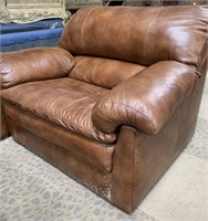 LEATHER SOFA; 2 CHAIRS & OTTOMAN -SEE PICS FOR CON