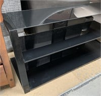 714 - BLACK GLASS 3 TIER TV STAND