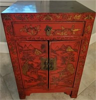 31 - BEAUTIFUL RED WOOD ASIAN CAINET W/DRAWER