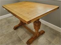 31 - VINTAGE ENTENDING SIDES WOODEN TABLE