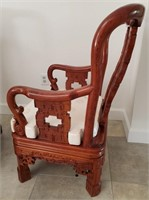 31 - STUNNING PAIR OF RED WOOD ASAIN CHAIRS