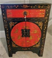 31 - BEAUTIFUL RED/BLACK ASIAN CABINT W/DRAWER