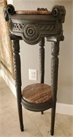 31 - BEAUTIFUL 2 TIER PLANT STAND W/MARBLE TOPS