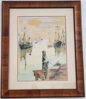 31 - FRAMED ART OF SHIPS IN THE BAY
