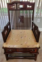 31 - GORGEOUS RED WOOD ASIAN CHAIR W/ CUSION