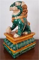 31 - BEAUTIFUL GREEN/GOLD FOO DOG STATUE