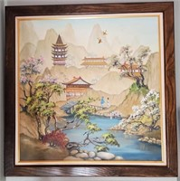 31 - BEAUTIFUL SIGNED FRAMED ASIAN THEMED ART