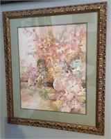 31 - SIGNED/NUMBERED/FRAMED PINK FLOWER ART