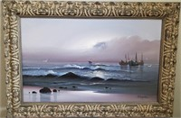 31 - SIGNED & FRAMED BOATS IN THE OCEAN ART