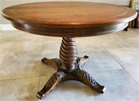 31 - SOLID WOOD ROUND TABLE