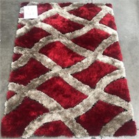 320 - NEW SHAG PLUSH RED/SILVER 5X7 AREA RUG (5)