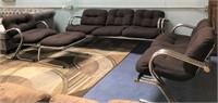 BEAUTIFUL RETRO BLACK/METAL 4PCS LIVING ROOM SET