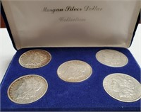 LOT OF 5 SILVER MORGAN DOLLARS IN CASE (12)