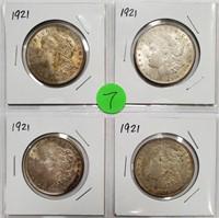 LOT OF FOUR 1921 SILVER MORGAN DOLLARS (7)