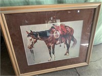 Framed horse picture 24x20in