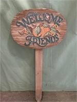 Welcome friends wooden garden sign