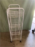 4 shelf rolling cart 34in tall 15in wide 10in