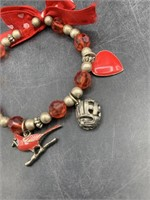Cardinals bracelet with charms
