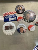 Political pins and stickers