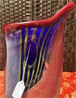 N - VERY HEAVY VINTAGE MURANO GLASS VASE