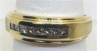 14KT YELLOW GOLD MENS DIAMOND RING 6.10 GRS
