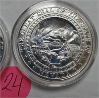 TWO 2005 SOLIDARITY FOREVER .999 SILVER COINS (24)