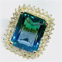 14KT YELLOW GOLD 25.04CTS TOPAZ AND 3.00CTS DIA.