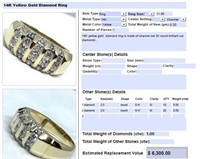 14KT YELLOW GOLD 1.00CTS MENS DIAMOND RING