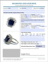14KT WHITE GOLD 5.04CTS SAPPHIRE AND 1.15CTS