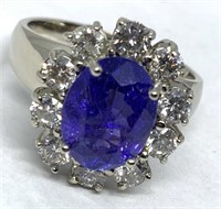 14KT WHITE GOLD 3.14CTS TANAZANITE AND 1.15CTS