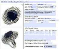 14KT WHITE GOLD 8.30CTS SAPPHIRE AND 1.62CTS