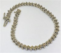 14KT YELLOW GOLD 1.00CTS DIAMOND BRACELET6.40 GRS