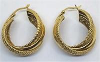 14KT YELLOW GOLD TRIPPLE HOOP EARRINGS 6.70 GRS